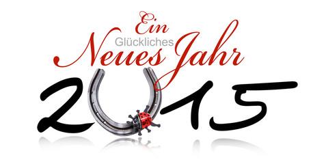 Glückliches Neues Jahr 2015 mit Hufeisen