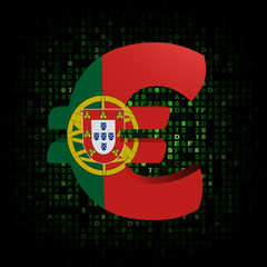 Euro symbol with Portugal flag on hex code illustration