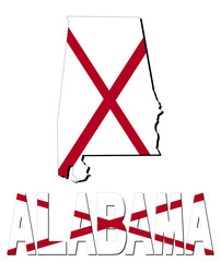 Alabama map flag and text illustration