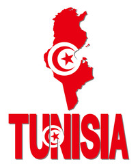 Tunisia map flag and text illustration