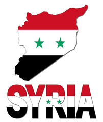 Syria map flag and text illustration
