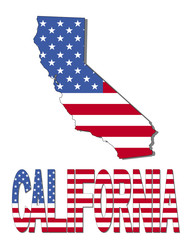 California map flag and text illustration