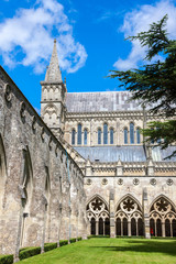 Salisbury Cathedral from the cloister, Wiltshire, England, UK