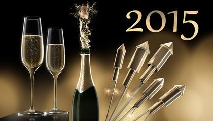 Champagnergläser mit Goldenen Raketen