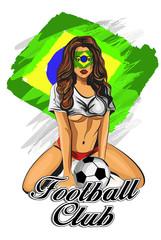 Brazil soccer fan girl. Vector illustration.