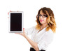 Businesswoman with tablet and glasses