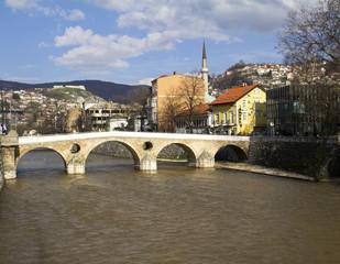 Latin Bridge on Miljacka river in Sarajevo