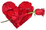 Herz aus Blüten mit Rose Thema Liebe zum Valentinstag oder Mutt poster