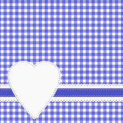 Mauve gingham check background with doily style heart label