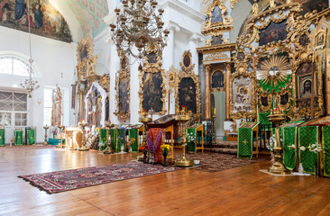 Interior of the orthodox church in Mlevo village, Russia