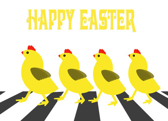 Four chicken crossing road fun Easter card cartoon design