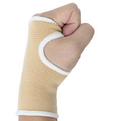 Man hand with wrist-support protection on white background, body