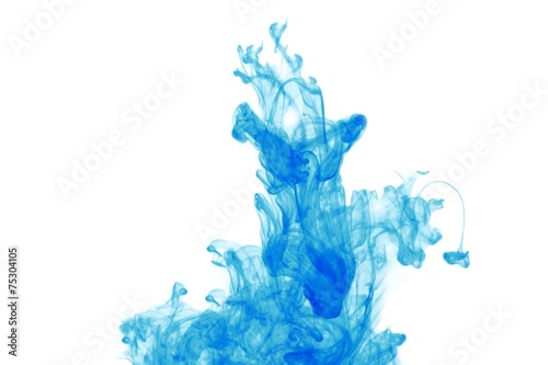 Farb Nebel im Wasser, Farbennebel blau, frei - 75304105