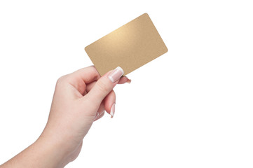 Woman holding gold credit card in hand