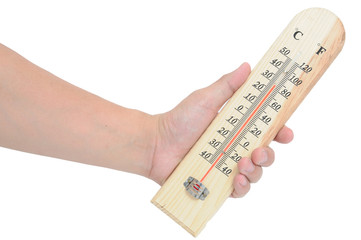 Man hand with wrist-support protection holding temperature-meter