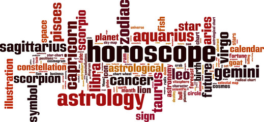 Horoscope word cloud concept. Vector illustration