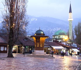 Sarajevo, old town, historical fountain