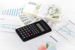 calculator, charts, pen, business workplace