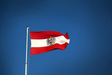 Österreich Flagge, Fahne mit Staatswappen, Verlauf Hintergrund