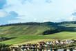Leinwandbild Motiv landscape with village of Helmstadt