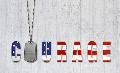 military dog tags with flag for courage