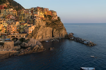 Sunset in Manarola, beautiful town at Cinque Terre, Italy