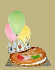 Roscón de Reyes, globos, pastel, dulce, corona