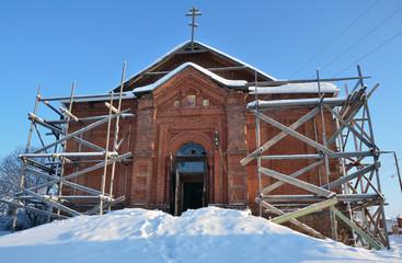 Башкортостан, разрушенный Никольский храм в селе Кага