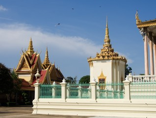 Buildings in the garden of royal palace in Phnom Penh