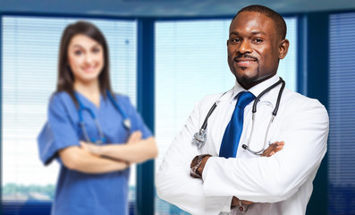 Portrait of two medical workers