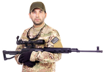 Military serviceman with sniper riffle