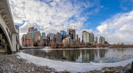 Skyscrapers along the Bow river in Calgary