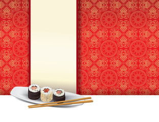 Piatto sushi con sfondo rosso con spazio menu