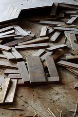 wooden parquet floor crumbled