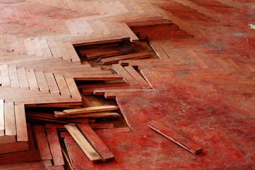 wooden parquet floor red