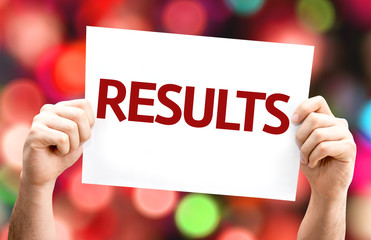 Results card with colorful background