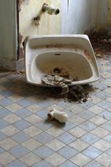 broken sink old interior