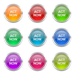 act now colorful web icons vector set