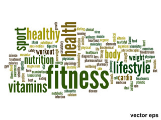 Vector conceptual fitness health word cloud