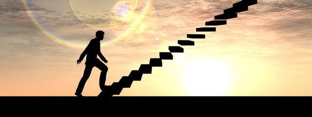 Conceptual business man climbing a stair banner