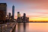 Fototapety Lower Manhattan at sunset (with space for text)