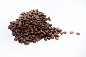 cup of coffee from roasted coffee beans top