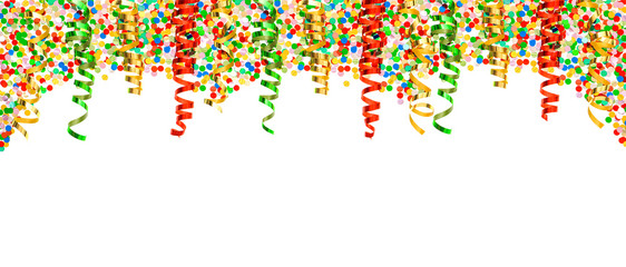 assorted confetti and shiny colorful streamer. party decoration