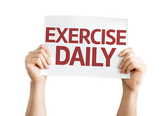Exercise Daily card isolated on white background
