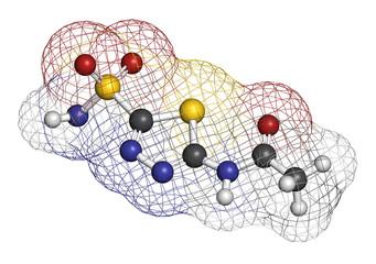 Acetazolamide diuretic drug molecule
