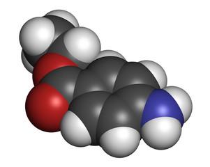 Benzocaine local anesthetic drug molecule.