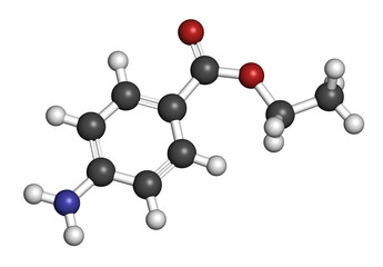 Benzocaine local anesthetic drug molecule.