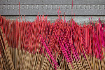 Closeup of group of unused incense sticks