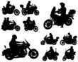 motorcyclists silhouettes collection - vector - 75313544