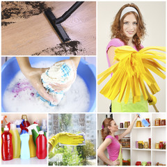 Clean concept. Young housewife with cleaning supplies and tools